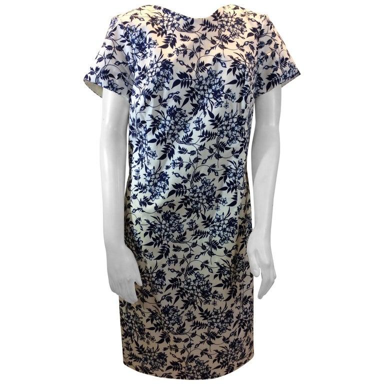 Carolina Herrera Navy Blue and White Print Dress NWT For Sale