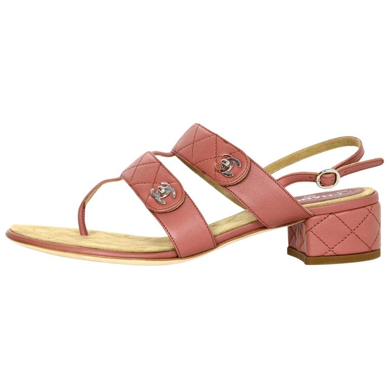 49f835b79a9 Chanel Dark Blush Calfskin Leather Quilted CC Turnlock Heeled Sandals Sz 38  For Sale