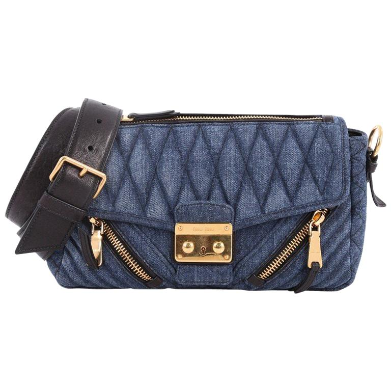 511b80c73b7 Miu Miu Biker Shoulder Bag Matelasse Denim Medium For Sale at 1stdibs
