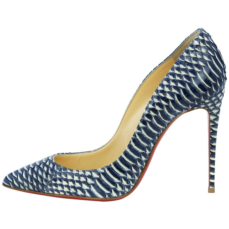 0431add6434 Christian Louboutin Pigalle Follies 120Mm Watersnake Rocaille - Size 36.5  For Sale at 1stdibs