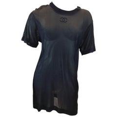 Chanel Vintage Black Mesh Shirt