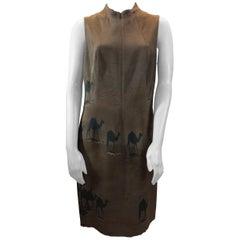 Akris Camel Print Brown Silk Dress