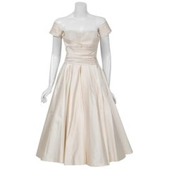 1950's Fred Perlberg Ivory Satin Ruched Sweetheart Circle-Skirt Dress w/ Tags
