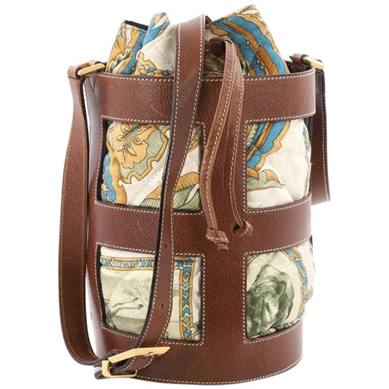 35fc32ed81 Salvatore Ferragamo Bucket Bag Leather and Quilted Printed Canvas Medium  For Sale