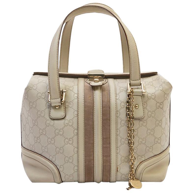 GUCCI Bag in Beige and Velvet Monogram Leather