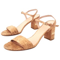 Stuart Weitzman Solo Natural Tone Cork High Heel Sandals
