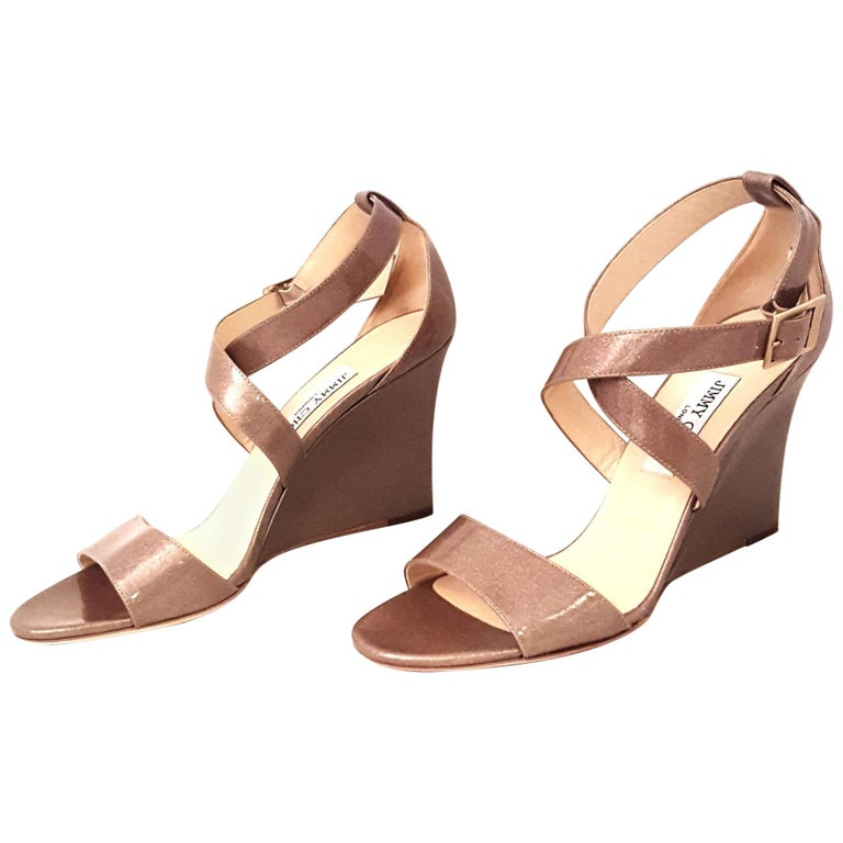 55fb026a91 Jimmy Choo Fearne Taupe Patent Leather Glitter & Criss Cross Straps Wedges  For Sale