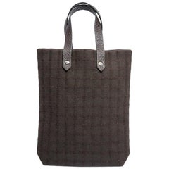 HERMES Vintage Bag in Brown Canvas and Brown Grained Leather