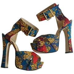 Vivienne Westwood Tea Garden Print Blue Gold and Red Platform Sandals
