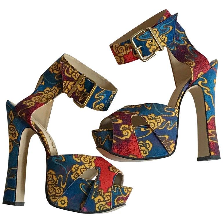 Vivienne Westwood Tea Garden Print Blue Gold and Red Platform Sandals