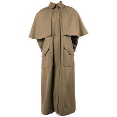 early 1970's YVES SAINT LAURENT khaki cotton poplin trench coat with cape