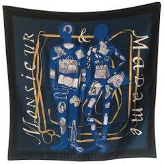 Hermes Monsieur et Madame Silk scarf in Navy