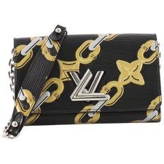 Louis Vuitton Twist Chain Wallet Limited Edition Chain Flower Print Epi Leather