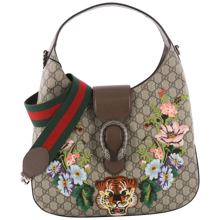 gucci dionysus hobo embroidered gg coated canvas medium at 1stdibs
