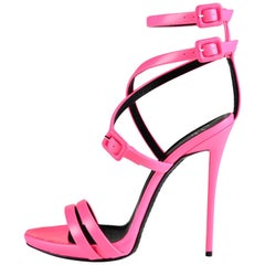 Giuseppe Zanotti NEW Hot Pink Leather Strappy Evening Sandals Heels in Box