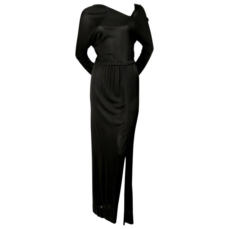 1970's HALSTON silk jersey gown with asymmetrical cut For Sale