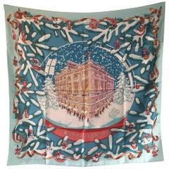 Hermes Noel au 24 Faubourg Silk Scarf in Blue