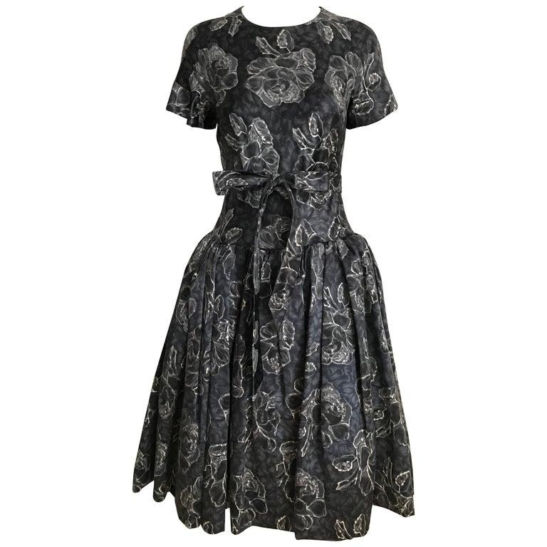 Vintage Norman Norell Blue and Grey Floral Print Silk Velvet Cocktail Dress