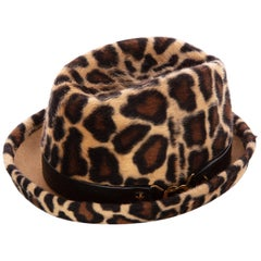 1970s Yves Saint Laurent Leopard Animal Print Hat YSL