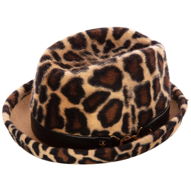 96d3598ea51 1970s Yves Saint Laurent Leopard Animal Print Hat YSL For Sale at ...