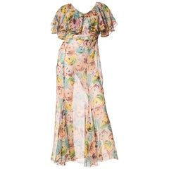 1930s Modern Floral Printed Silk Chiffon Dress