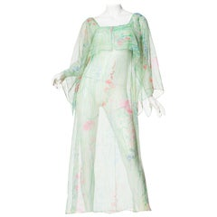 Sheer Floral Chiffon Dress with Kimono Cape Sleeves, 1970s