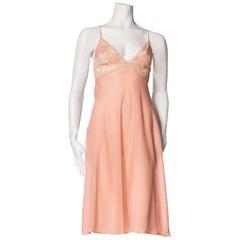 1970s Italian Bias & Lace Slip Dress
