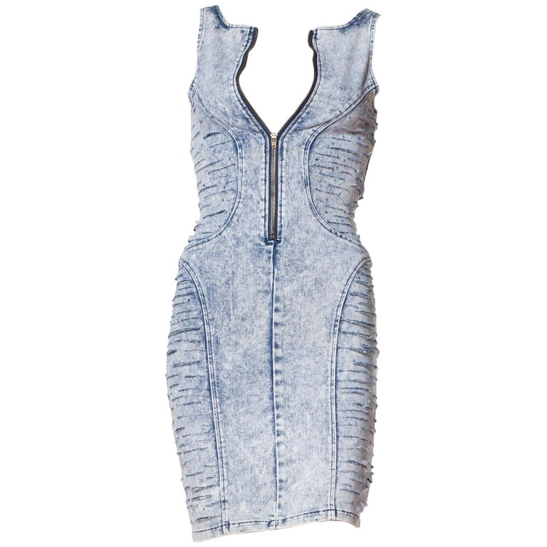Tight Bleached Denim Dress with Crystals, 1980s  For Sale