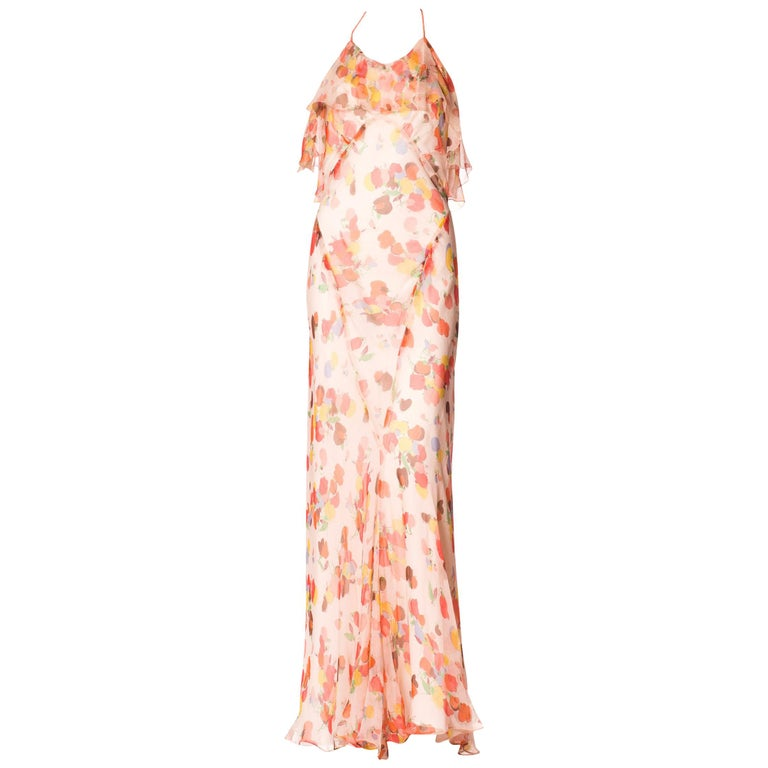 Backless Bias Cut Floral Silk-Lined Chiffon Coral Beaded Dress, 1930s For Sale