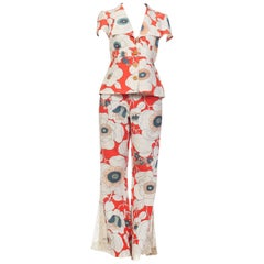 1970s Bold Floral Printed Cotton Jumpsuit Pantsuit Ensemble