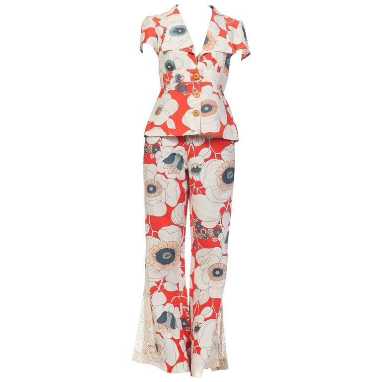 1970s Bold Floral Printed Cotton Jumpsuit Pantsuit Ensemble