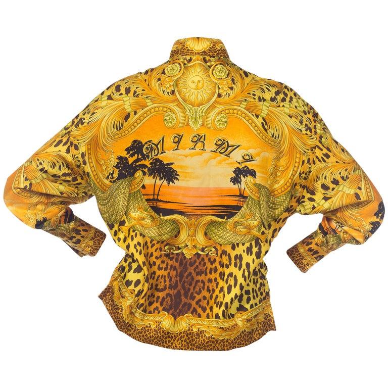 1990s Gianni Versace Miami Baroque Leopard Silk Blouse