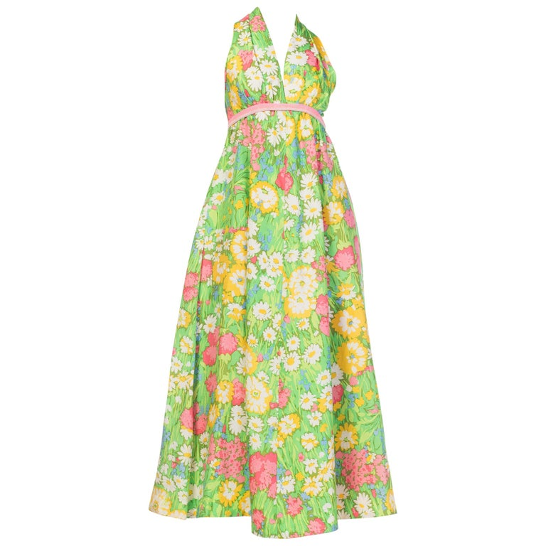 1960s 1970s Floral Printed Silk Halter Dress with Beading