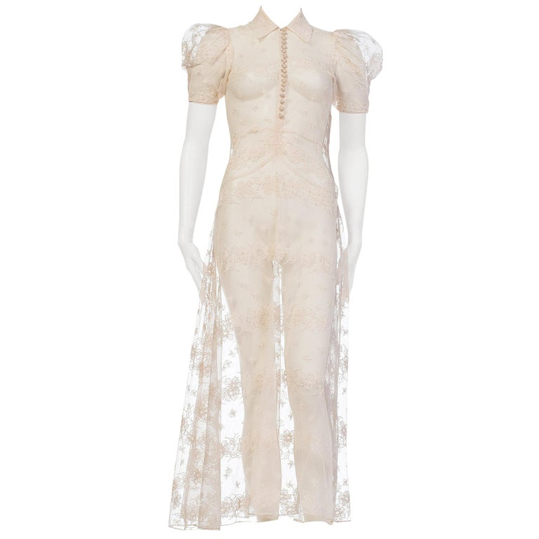 1930s Sheer Lace Net Dress With Floral Embroidery  For Sale