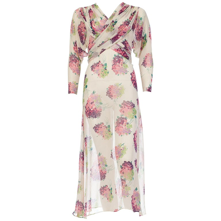 Sheer Silk 1920s Floral Chiffon Dress For Sale