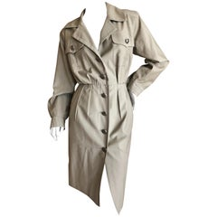 Yves Saint Laurent Rive Gauche 1970's Fine Cotton Safari Dress