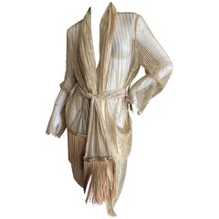 Romeo Gigli Vintage Sheer Gold Lace Cardigan Dress with Fringe Wrap Belt