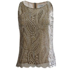 Chanel Silk Blouse Sleeveless Metallic Paisley Scalloped Lace Shell Top Sz 38
