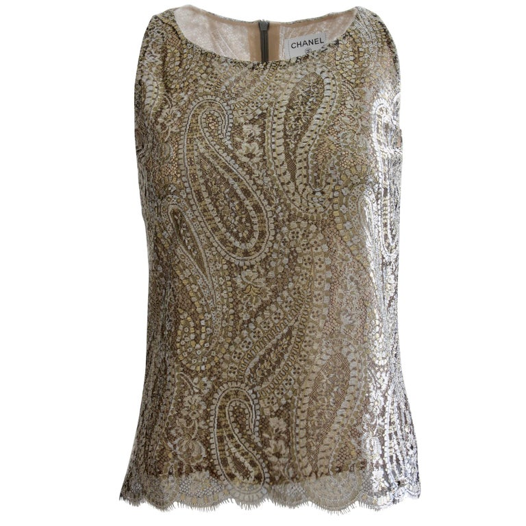 Chanel Silk Blouse Sleeveless Metallic Paisley Scalloped Lace Shell Top Sz 38 For Sale
