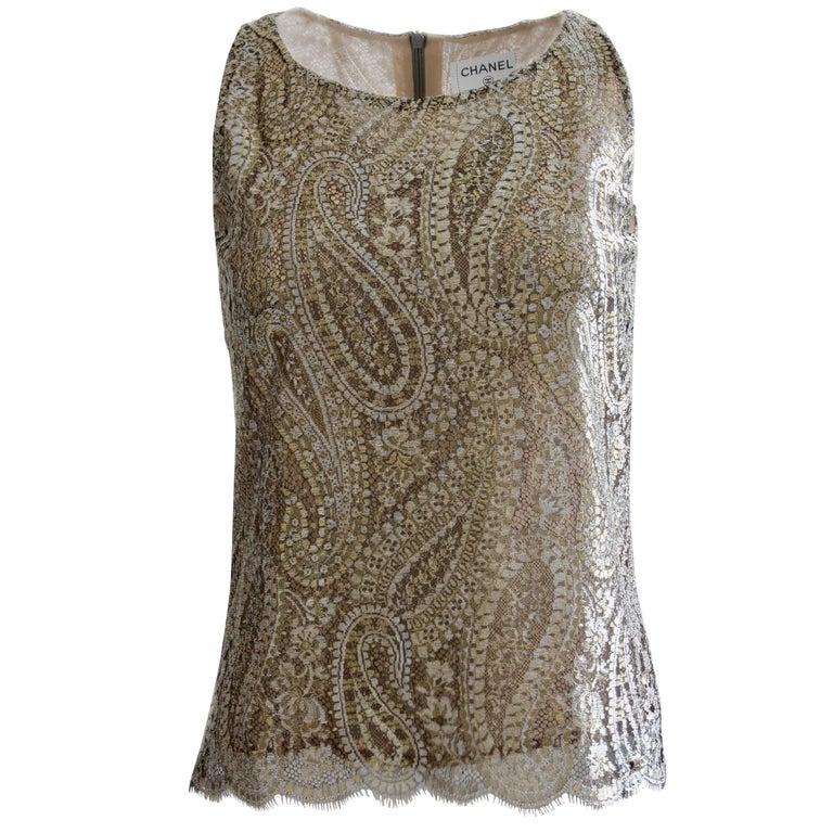 Chanel Silk Blouse Sleeveless Metallic Paisley Scalloped Lace Shell Top Sz 38