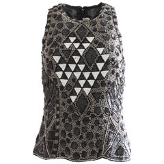 Naeem Khan Riazee Embellished Blouse Black & White Beads Sequins Formal Sz S
