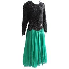 Naeem Khan Riazee Embellished Bodice Evening Gown Silk Chiffon Skirt Formal L