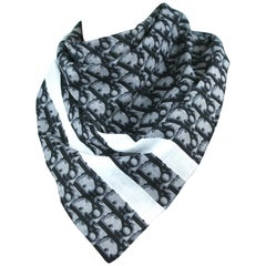 """Galliano for Dior Blue Monogrammed Cotton Scarf, c. 2000's, 21"""" x 21"""""""