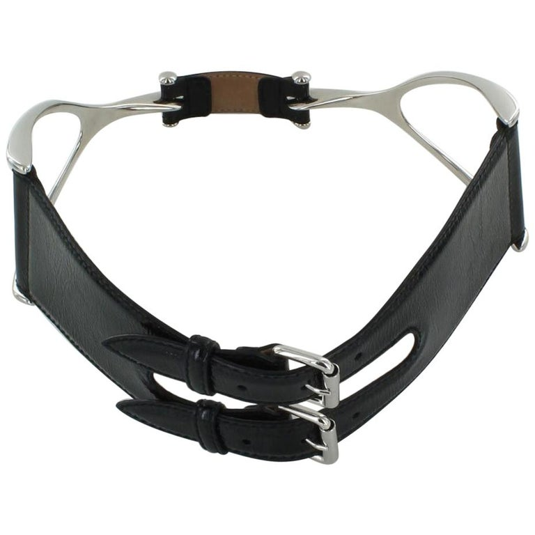 ALEXANDER MCQUEEN Large Belt in Black patent Leather Size 75 For Sale