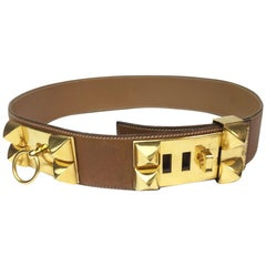 HERMES Vintage Collier de Chien Belt in Courchevel Leather Size 70