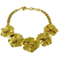 Yves Saint Laurent YSL Gold Toned Pansy Necklace