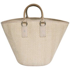 HERMES Basket Bag in Leather and Wicker in Eggshell Color