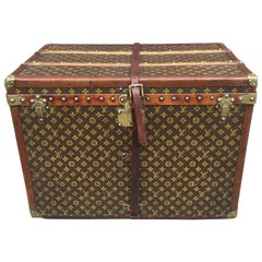 Louis Vuitton Antique Monogram Small Steamer Trunk with Basket Tray c1920s