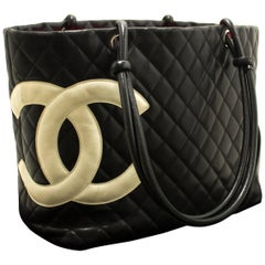 CHANEL Cambon Tote Large Shoulder Bag Black White Quilted Calfskin