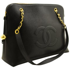 CHANEL Caviar Jumbo Large Chain Shoulder Bag Black Gold Zip